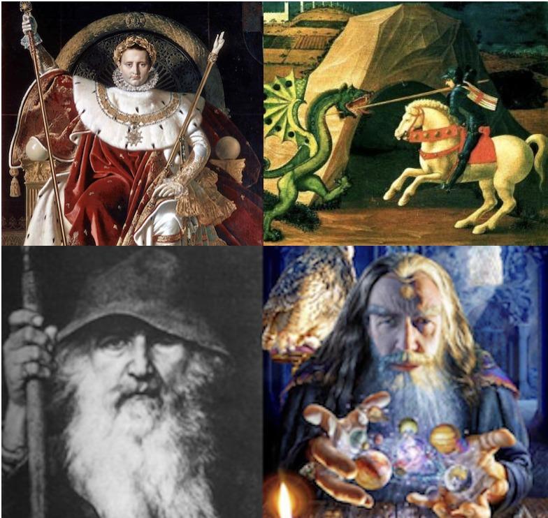 4 Bilder in einem, alle stellen sogenannte Helden dar